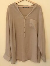 Zac & Rachel Woman Size 3X Tan V-Neck Popover Blouse Shirt Long Tab Sleeves