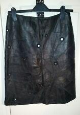 De Colección Negro De Cuero Real De Retazos MORGAN Falda Talla S Cintura w28ins w71cms