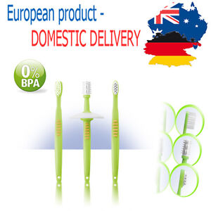 BEGINNER TOOTHBRUSH SET with safety plate BPA FREE Baby Toddler Infant Clean
