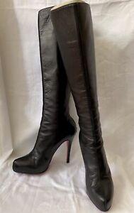 Black Leather Christian Louboutin Knee Boots EU 37.5