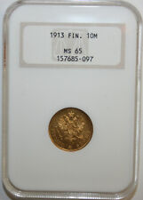 Finland 1913 Gold 10 Markkaa NGC Graded MS65