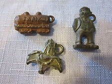 Vintage Metal Clad Charms Sylvester Cat, Kfs Jiggs, Tank - Gumball Machine Prize
