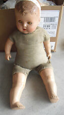 """Big Vintage 1930s Composition Cloth Baby Boy Character Doll 23"""" Tall to Restore"""