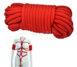 Soft Red Cotton Rope Bondage Restraint Japanese Shibari BDSM Adult Play 32ft/10m