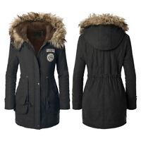 Winter Women's Fur Collar Hooded Jacket Warm Long Slim Coat Lady Parka Outwear