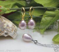 12X16mm Natural Purple Water Drop Shell Pearl Necklace Pendant Hook Earrings Set