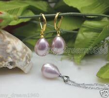 12X16mm Natural Purple Water Drop Shell Pearl Necklace Pendant Hook Earrings Set