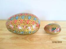 2 VINTAGE MADE IN INDIA BRASS EGG FOR ENESCO & LACQUERED PAPER MACHE TRINKET EGG