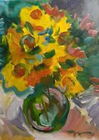 JOSE TRUJILLO - OIL PAINTING Impressionism MODERN Sunflowers - ABSTRACT