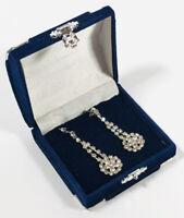 Vintage Earrings Silver Tone & Diamante Drop Dangle Cute Sparkly Pretty Costume