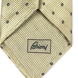 "BRIONI Tie Striped Textured Elegant Geometric Gold Mens Luxury Necktie 59""x3.5"""