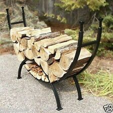 "Pleasant Hearth Decorative Arched Fireplace Black Rounded Log Rack 69"" New"