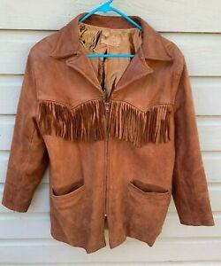 VTG 1950s WANSHA Tanning Co Western Buckskin Leather Fringed Jacket Medium USA