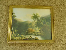 VINTAGE ART PRINT Fishing Scene /Sheep in Pasture GOLD WOOD FRAME- 22x18-FreeS&H