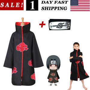 Anime NARUTO Uchiha Itachi Kids Cosplay Cloak Akatsuki Ninja Coat With Headband