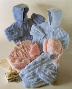 Baby DK Knitting Pattern Cardigan Sweater Jacket and Hat Sizes 16-26 inches #197