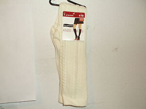 NEW NO NONSENSE LADY'S PAIR OF PEARL CABLE  KNEE BOOTSOCKS ...SZ.(4-10)