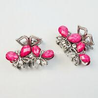 "2x Haargreifer Schmetterlinge S Metall Strass Haarklammer Haarspangen rosa pink"""