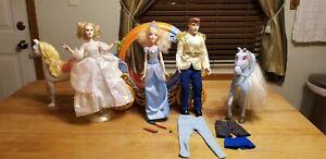 Lot 5 Disney Barbie Doll Princess Cinderella, 2 Horses& Carriage, Prince, Fairy