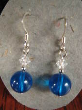 & Silver dangle earrings Royal glass Austrian Crystal