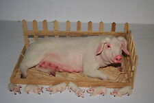 More details for 35cm pig & piglets in wooden sty - farm family porker - piggy gift - collector