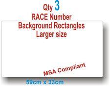 Qty 3 White Rectangles Large. MSA Compliant   Motorsport  Race Vinyl Stickers