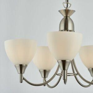 Endon Alton Indoor 5lt 60W E14 Ceiling Pendant Light Satin Chrome & Opal Glass