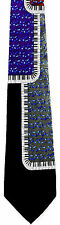 New Musical Piano Ragtime Mens Necktie Keys Keyboard Music Blue Notes Neck Tie