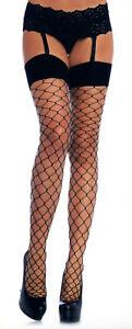 Women Stockings Spandex Fence Net Wide Band Top Fine Toe Reg Blk Leg Avenue 9105