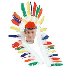 Native American Indian Long Feather Head Dress Wild West Fancy Dress NEW P1879