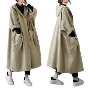 Womens Oversize Maxi Coat Hooded Big Pockets Windbreaker Parka Overcoat Casual D