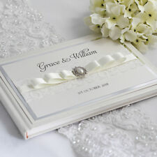 """Grace - Personalised & Boxed 8"""" x 10"""" Vintage Lace & Pearl Wedding Guest Book"""