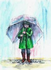 Kid Rain umbrella girl child landscape original painting Aceo acrylic signed