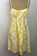 Signature London Style Sun Dress Womens Size 4 Yellow White Polka Dots Lined