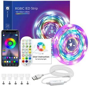 RGBIC Led Strip Lights 32.8Ft Color Change Led Lights With Bluetooth App Control