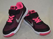 Nike Flex Experience 4 Black/Silver/Pink (PSV) Girl's Running Shoes - Asst Sizes