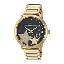 Nuevo Michael Kors MK3794 Portia Negra Cristal Pave Dial Tono Oro Mujer Reloj