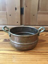 Antique Copper Pot with Handles, Vintage, Hand Forged, Pan, Planter 4.5x2.5