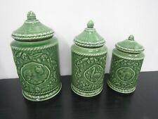 New ListingAndrea By Sadek Le Jardin Suzanne Nicoll 3 Ceramic Green Cannisters W/ Lids
