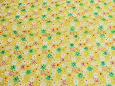 NEW YELLOW  PolyCotton FLORAL Fabric Ditzy FLOWER Craft Metre Reduced Price