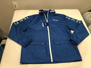 NWT $80.00 HUK Performance Breaker Fishing Gear Jacket Blue Size LARGE