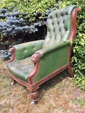 carved victorian throne pussy oak seat lion head library chair 19th CENTURY