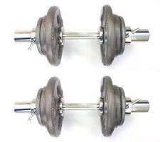 45KG Olympic Dumbbells 2 x 22½kg Set, Tri-Grip Iron Weight Disc Plates, T-Screws