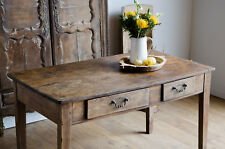 French Antique Beech Farmhouse Country Rustic Dining Kitchen Table & 2 Drawers