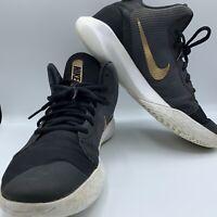 Nike Precision III AQ7495-003 Basketball Shoes Men's Size 9.5 Black Gold White