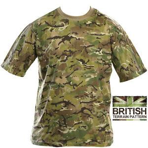 Mens Army Combat Military British US BTP Camo T-shirt Camouflage Surplus New