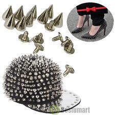 100PCS 10mm Spots Cone Screw Metal Studs Leathercraft Rivet Bullet Spikes Silver