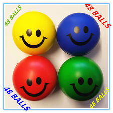 48x Color Stress Balls Hand Relief Squeeze Toy Relieve Anti-stress Soft Smiley F