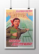 "North KOREA Propaganda Poster Print AGRICULTURE. MORE GRAIN PRODUCTION! 18x24"""