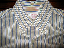 BROOKS BROTHERS BLUE-TAN STRIPED 100% COTTON SHIRT EXCELLENT CONDITION SIZE M